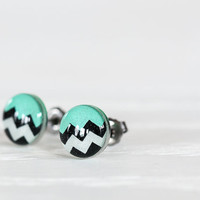 Tribal Striped Post Earrings in Mint and Black - Hypoallergenic Studs