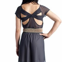 cut-out back dress &amp;#36;33.40 in CHARCOAL MOCHA ROSE - Casual | GoJane.com