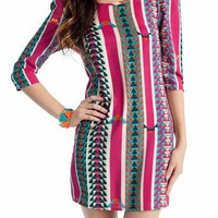 printed exposed zipper dress $34.50 in MAGENTA MUSTARD - Tribal | GoJane.com