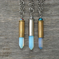 Moonstone Necklace, Bullet Necklace, Crystal Necklace, Bullet Casing, Opal, Quartz, Opalite, Gemstone, Shotgun Shell, Silver, Gunmetal,