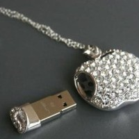 High Quality 8gb Apple Crystal Jewelry USB Flash Memory Drive Necklace: Computers &amp; Accessories