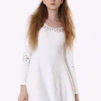 Cut Out Floral Lace White Dress