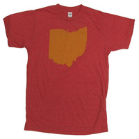 SUPER SOFT Vintage Feel Unisex Heather Red Tee - Yellow Ohio State Silhouette