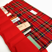 Cosmetics / Makeup roll  Red Light plaid twill by LilachOren