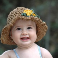 Summer Sun Hat For Children with yellow flowers by beliz82 on Etsy