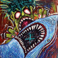 Zombie Shark Fight Art Prints by Laura Barbosa - Shop Canvas and Framed Wall Art Prints at Imagekind.com