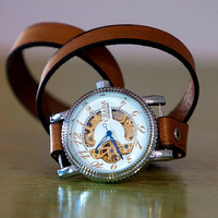 Skeleton Leather Wrap Watch  Free Shipping