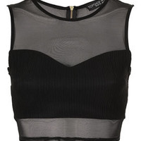 Petite Rib Panel Mesh Crop Top - New In This Week  - New In