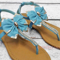 Lily Bay Teal Big Bow Ankle Sandals