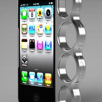 knuckle case - aluminum, cell phone, Iphone case, brass knuckles, phone handle