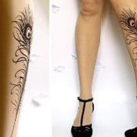 PEACOCK FEATHER TATTOO gorgeous thighhigh socks by post