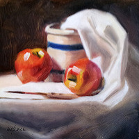 Apples and Crock 6 x 6 Original Oil Painting by LittletonStudio