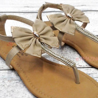 Tally Vineyard Big Bow Beige Ankle Rhinestone Sandals