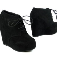 Lace up Platform Wedge Bootie: Shoes