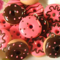 6pcs - Assorted Chocolate Kitsch Donut Charms - Strawberry And Chocolates - Luulla
