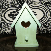 OMBRE MINT Tiny Rustic BIrdhouse