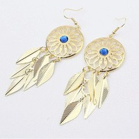 Golden Dream Catcher Fashion Statement Earrings  | LilyFair Jewelry