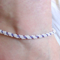 Purple and White Anklet, Spiral Rope, Beaded Anklet, Ankle Bracelet