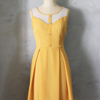 PETIT JARDIN - MUSTARD yellow dress with white lace neckline // retro // vintage inspired // pleated skirt // bridesmaid dress // garden