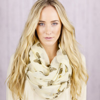 Bow Infinity Scarf Taupe Printed Infinity Loop Bow Scarf with Brown Bows  Infinity Scarf Spring Fashion Accessories Print Circle Scarf