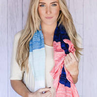 Beachy Keen Rainbow Ombre Scarf Sumer Wrap Scarf with Crochet Lace Trim