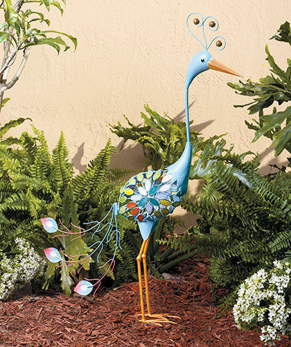 Metal peacock bird garden yard art statue from cornerstone - Outdoor peacock decorations ...