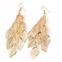 Multi Layer Bohemian Tassel Golden Leaf Dangle Earrings: Jewelry