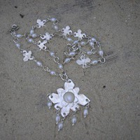Flower and Mother of Pearl Necklace from Maura Nicholson | Made By Maura Nicholson | £205.00 | Bouf