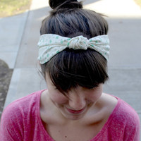 Teal and White Floral Knotted Headband