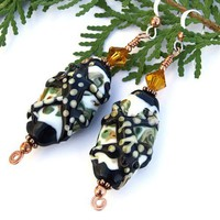 Handmade Gecko Lampwork Earrings Swarovski Copper Spiral OOAK Unique