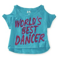 Kids' Cropped World's Best Dancer Cold-Shoulder Tee - PS From Aeropostale