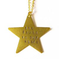 The Fault In Our Stars Necklace Gold Star Necklace Handstamped Necklace Handstamped Jewelry Hand Stamped Necklace Hand Stamped Jewelry Cute