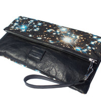 Starry Night Leather Clutch, Zip Pouch