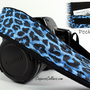 Blue Leopard, Camera Strap with Pocket, dSLR, SLR