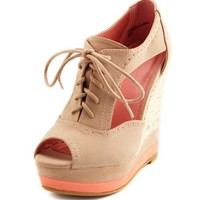 Cutout Lace-Up Oxford Wedge: Charlotte Russe