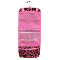 Pink Brown Damask Hanging Travel Toiletry Cosmetic Bag