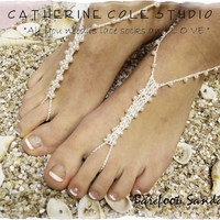 PEARL Barefoot sandals handmade BF4 pearl beading great for beach wedding summer slave sandals foot jewelry resort wear Catherine Cole