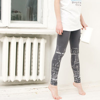 Cruising in the trolley  gray leggings with silver/ by ZIBtextile