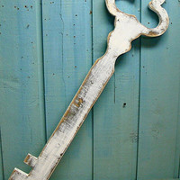 Skeleton Key Sign Weathered White Wooden Sign by CastawaysHall