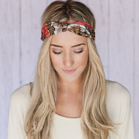 Turband Headband CORAL Vintage Clock Head Band PEACH Turban Twist Headband Think Style Turband Headband with Antique Clock Pattern