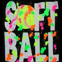 Softball Splatter T-Shirt (Size=Adult-Small): Sports & Outdoors