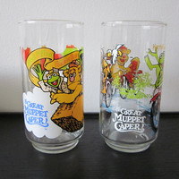 2 Vintage 1981 Muppets Great Muppet Caper McDonalds Glasses Kermit Fozzie Gonzo Animal