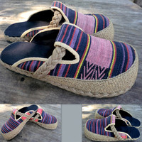 Ladies Shoes In Tribal Ethnic Naga Woven Cotton Slip On Womens Slides Clogs