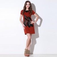 Bqueen False V Collar Short Sleeve Dress Q12133R