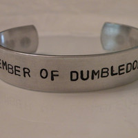 Harry Potter Dumbledore Stamped Custom 7 inch Silver Metal Adjustable Cuff Bracelet