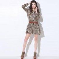 Bqueen Round Neck Leopard Dress Q12163Y - Designer Shoes|Bqueenshoes.com