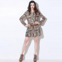 Bqueen Long-sleeved Round Neck Leopard Dress Q12163F - Designer Shoes|Bqueenshoes.com