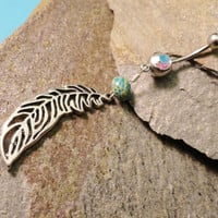 Feather Belly Button Ring with Green Jasper by MidnightsMojo