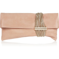 Jimmy Choo | Chandra chain-embellished wet-look leather clutch | NET-A-PORTER.COM