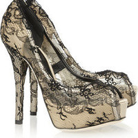 Dolce & Gabbana | Lace-covered satin pumps  | NET-A-PORTER.COM